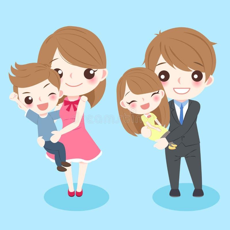 Sorriso della famiglia del fumetto felicemente illustrazione di stock