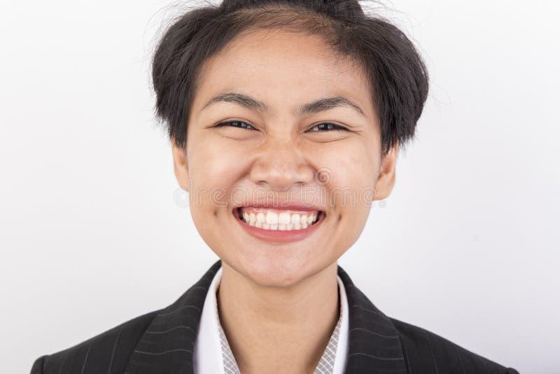 Sorriso della ragazza dei capelli di scarsità felice immagini stock libere da diritti