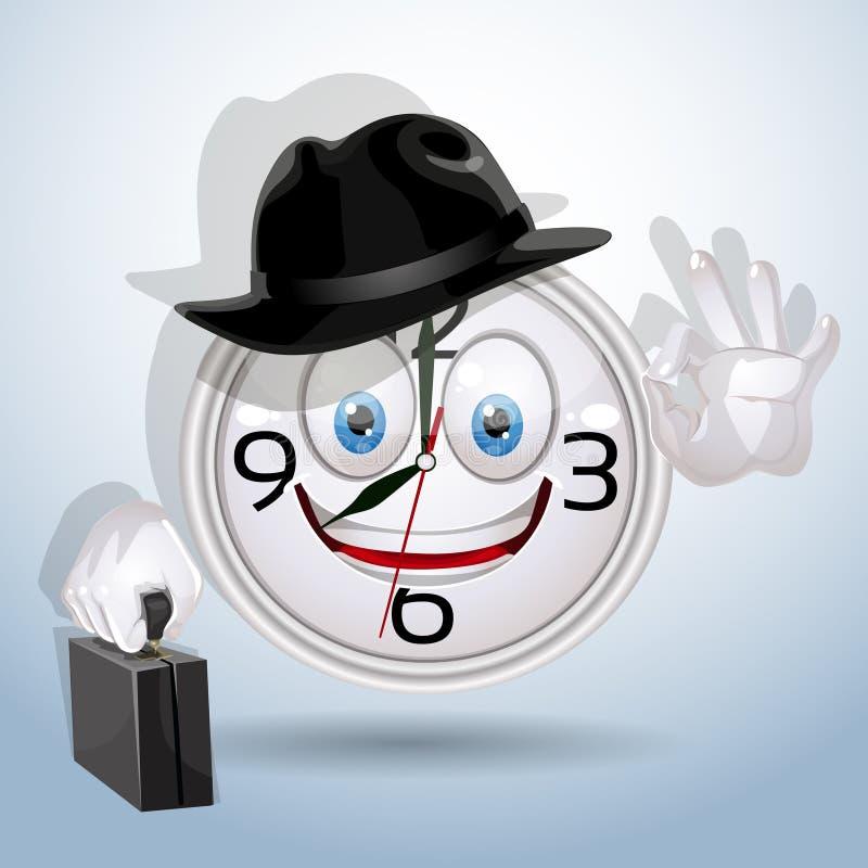 Sorriso della vigilanza pronto per un nuovo giorno lavorativo illustrazione vettoriale