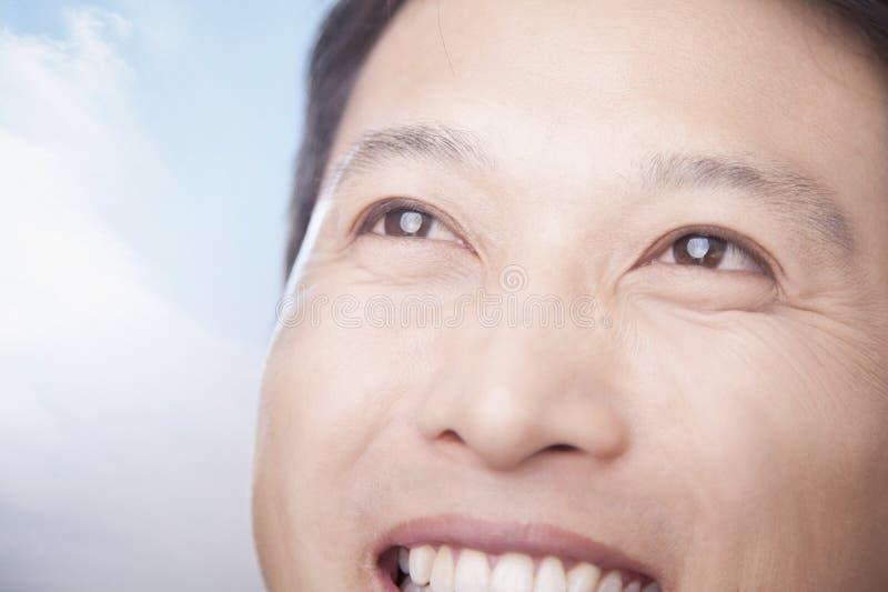 Sorriso do close-up e cara do homem feliz fotos de stock