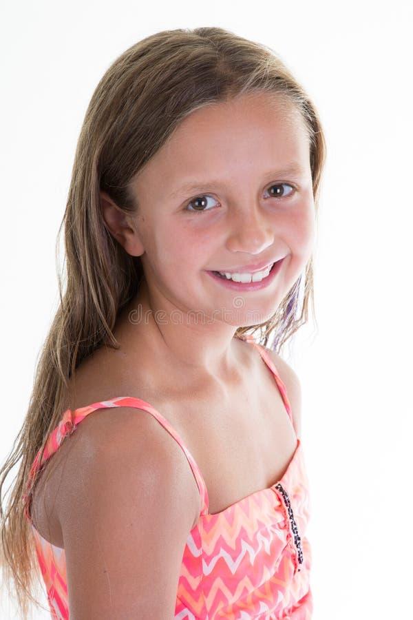 Sorriso do perfil do retrato da moça e criança feliz foto de stock