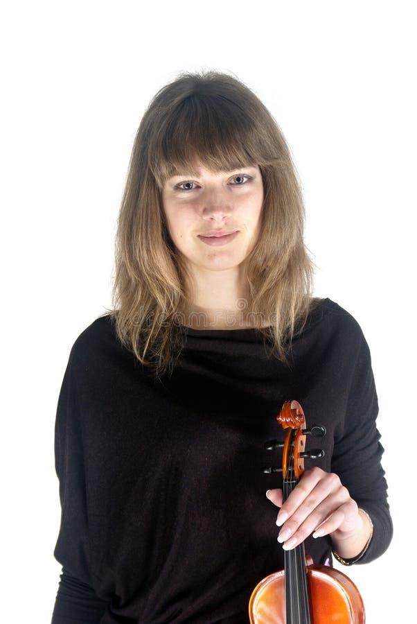 Sorriso do violinista da menina imagens de stock