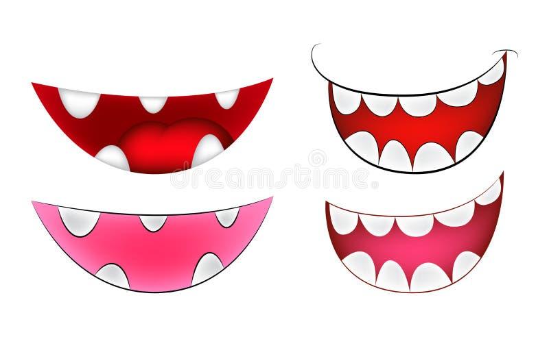 Sorriso dos desenhos animados, boca, bordos com os dentes ajustados ilustração da malha do vetor no fundo branco ilustração royalty free