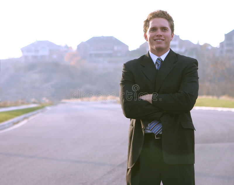 Sorriso em um homem de negócio fotos de stock royalty free