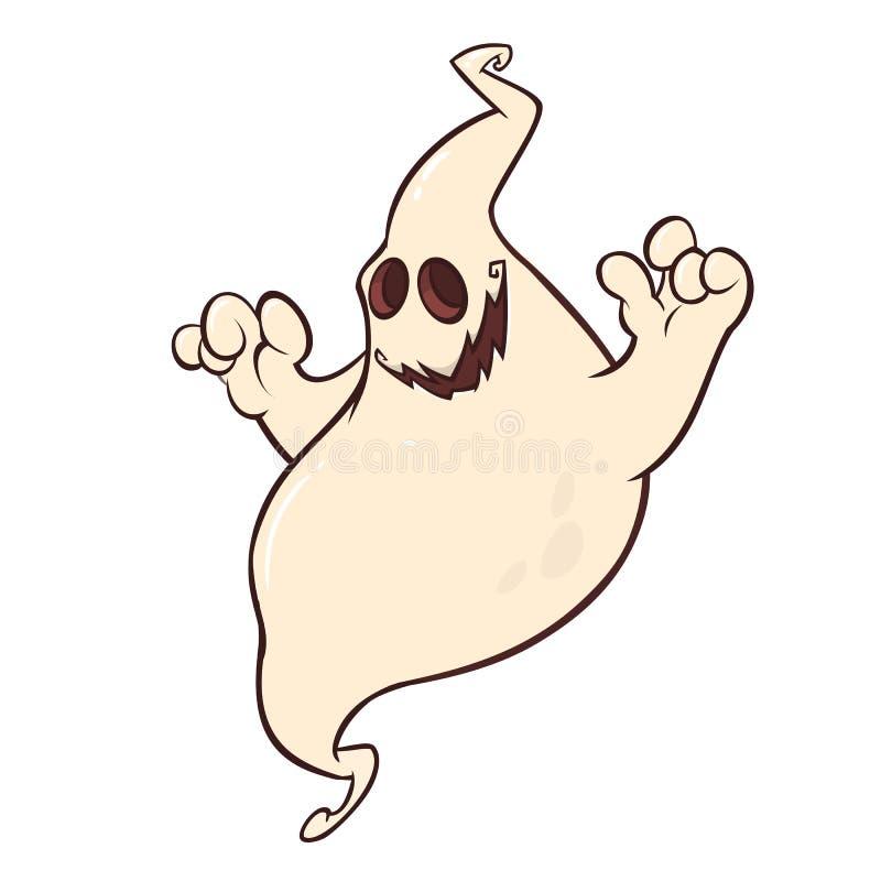 Sorriso engraçado do caráter dos gênios dos desenhos animados Ilustração do vetor do fantasma assustador ilustração do vetor