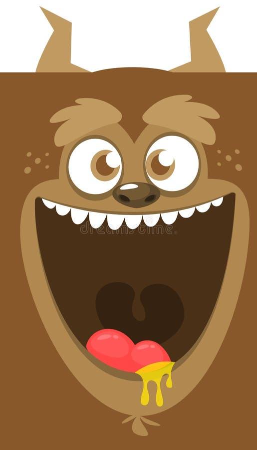 Sorriso engraçado do monstro dos desenhos animados Monstro fresco marrom de Dia das Bruxas do vetor Grupo grande de caras do mons ilustração stock