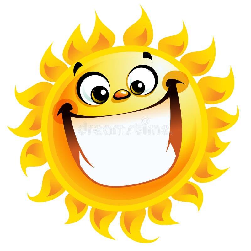 Sorriso entusiasmado do caráter do sol extremamente feliz do amarelo dos desenhos animados ilustração royalty free