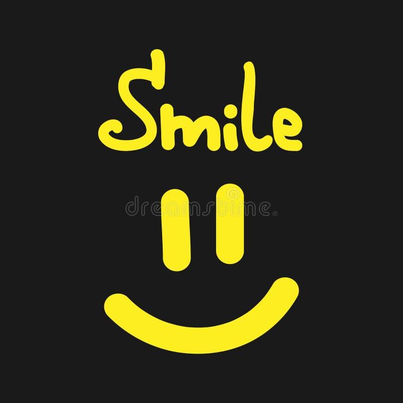 Sorriso escrito à mão do texto Boca e olhos de sorriso ilustração do vetor