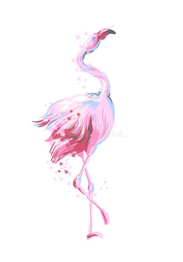 Sorriso fêmea bonito do flamingo do rosa da dança isolado no fundo branco com respingo cor-de-rosa para cópias, fato da forma ilustração royalty free