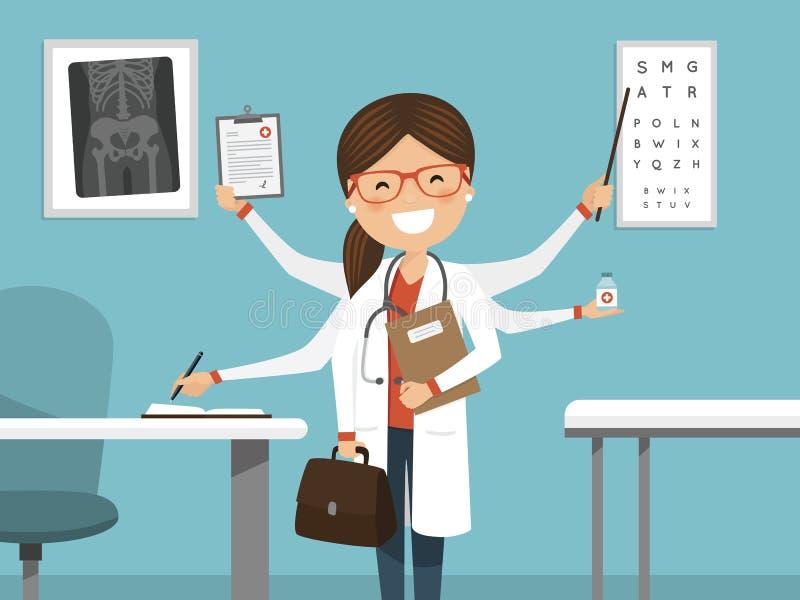 Sorriso fêmea ocupado a multitarefas do doutor Posição profissional no hospital ilustração stock