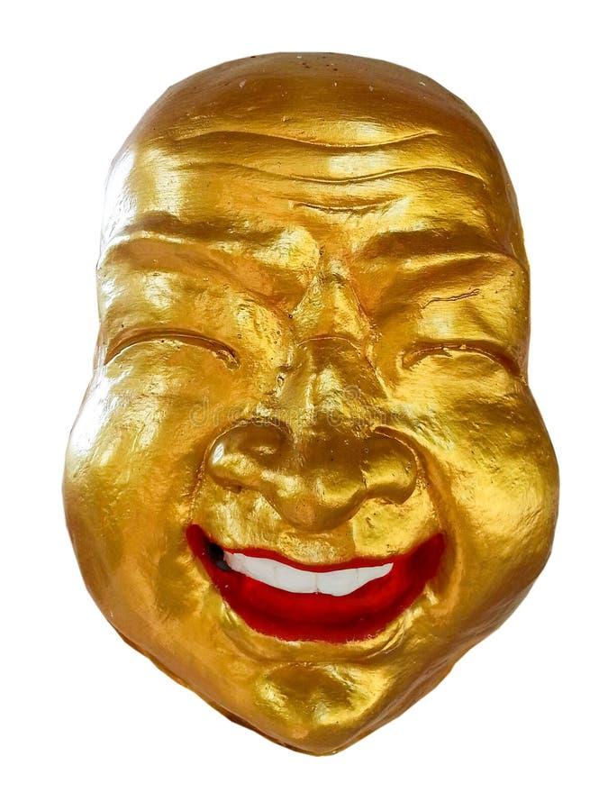 Sorriso felice della maschera dorata fotografie stock libere da diritti