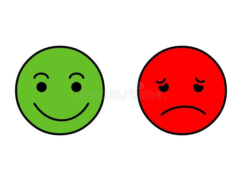 sorriso felice e sorriso triste Vettore dell'autoadesivo di Emoji illustrazione vettoriale