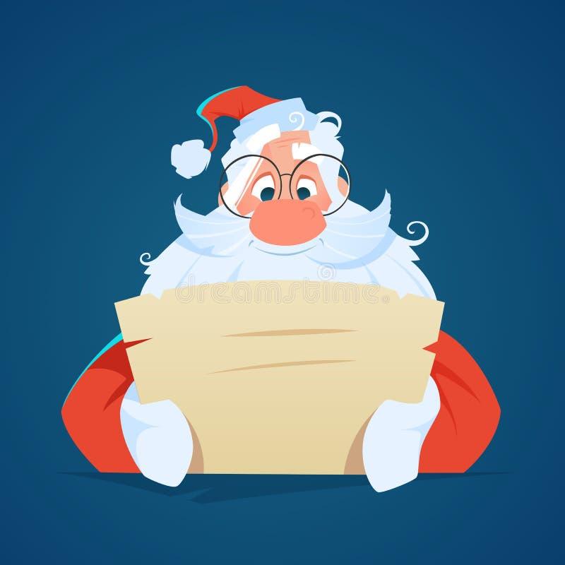 Sorriso felice il Babbo Natale che legge una lettera fotografia stock