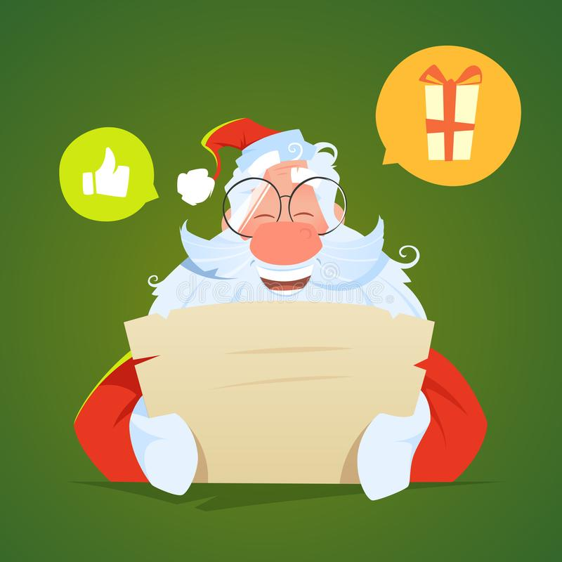 Sorriso felice il Babbo Natale che legge una lettera e le risate fotografia stock