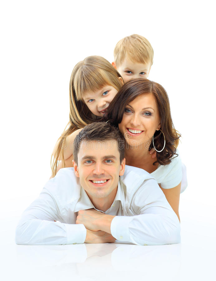 Sorriso feliz da família. imagens de stock royalty free