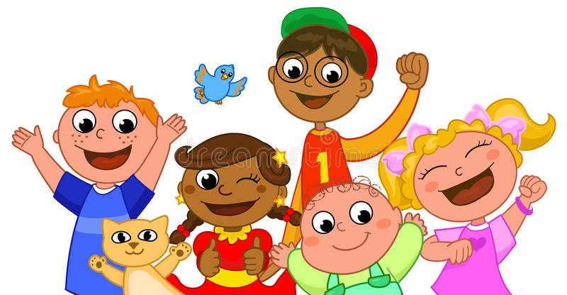 Sorriso feliz de cinco miúdos ilustração do vetor