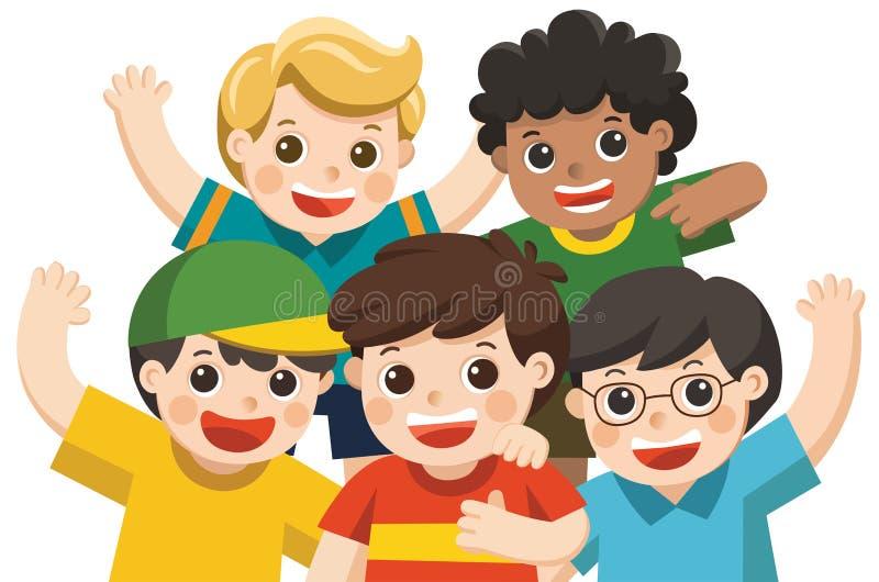 Sorriso feliz dos melhores amigos do grupo do menino ilustração royalty free