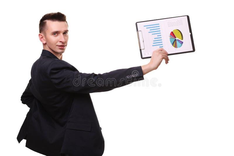 Sorriso feliz novo do homem de negócio, homem de negócios no poin elegante do terno imagens de stock royalty free
