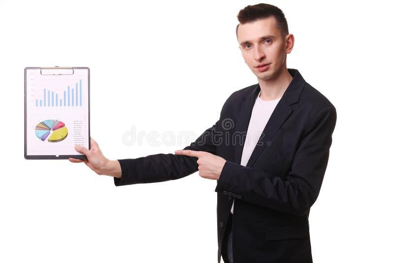 Sorriso feliz novo do homem de negócio, homem de negócios no poin elegante do terno fotografia de stock
