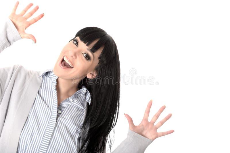 Sorriso feliz satisfeito alegre alegre entusiasmado da mulher foto de stock royalty free