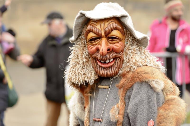 Sorriso fixo da máscara na parada de carnaval, Estugarda da floresta fotografia de stock