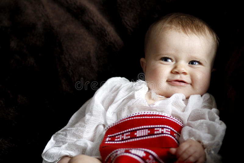 Sorriso infantil do bebê fotos de stock royalty free