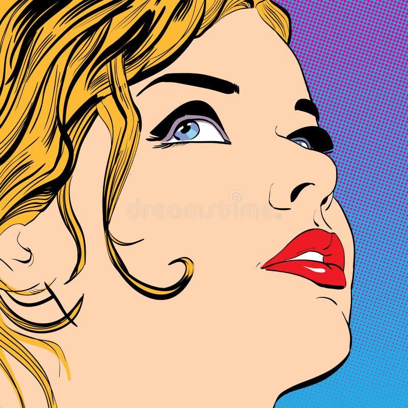 Sorriso louro bonito das mulheres Uma jovem mulher Mulher bonito que pensa sobre algo ilustração stock