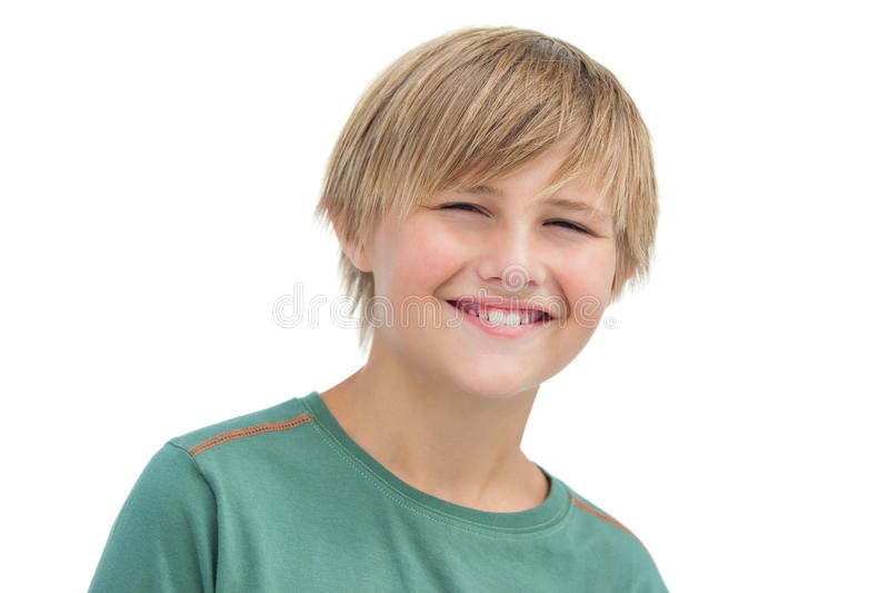 Sorriso louro pequeno feliz do menino fotos de stock royalty free