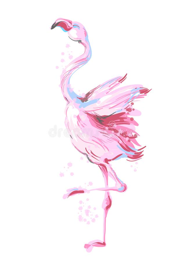 Sorriso masculino bonito do flamingo do rosa da dança isolado no fundo branco com respingo cor-de-rosa para cópias, fato da forma ilustração royalty free