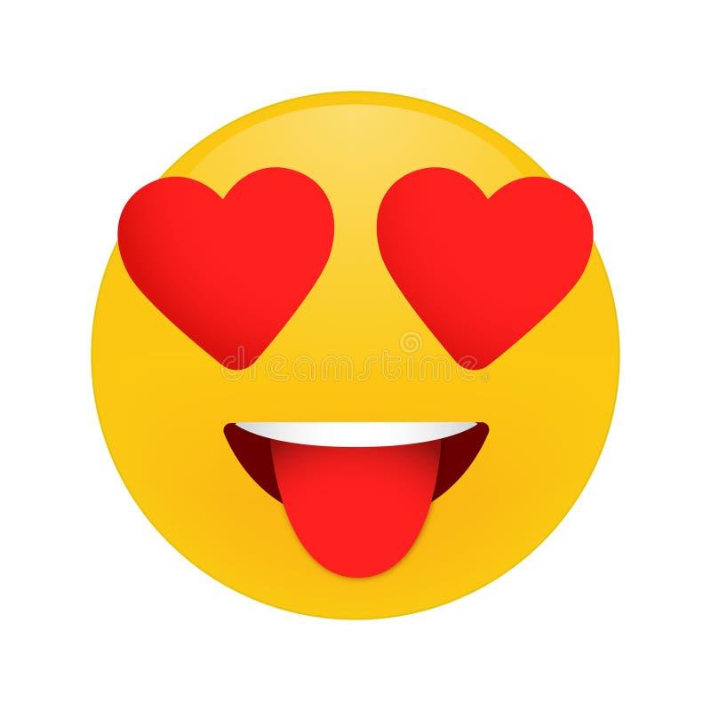 Sorriso nell'emoticon di amore d, nell'emoticon di amore, icona, cuori di amore in occhi, fronte di emoji illustrazione vettoriale