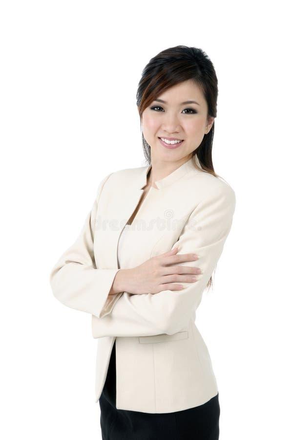 Sorriso novo atrativo da mulher de negócios imagem de stock royalty free