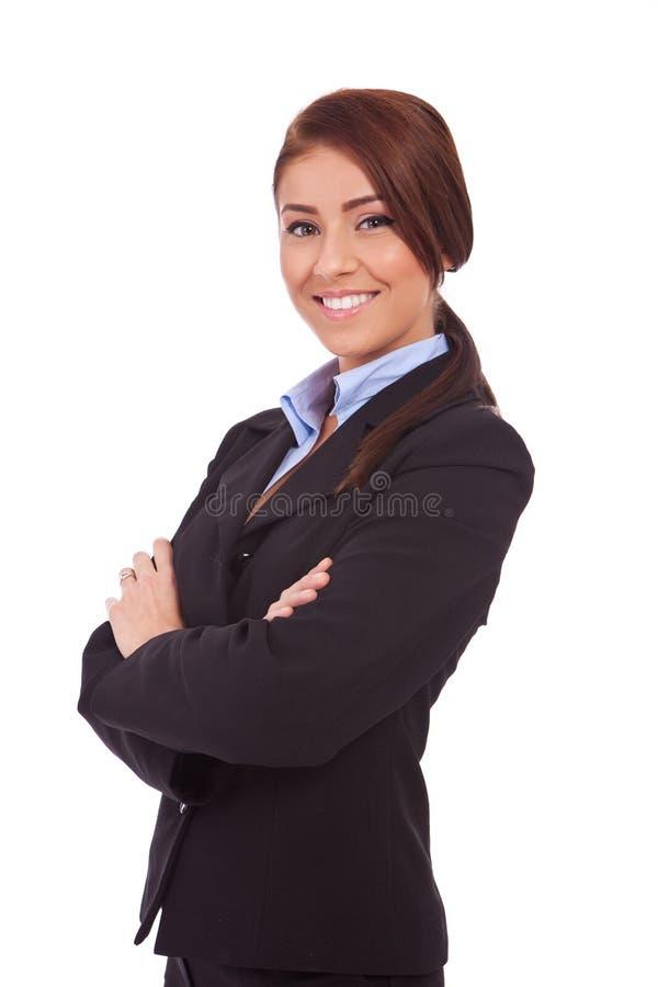 Sorriso novo bonito da mulher de negócio imagem de stock royalty free