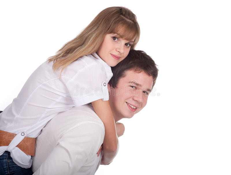 Sorriso novo dos pares do amor foto de stock