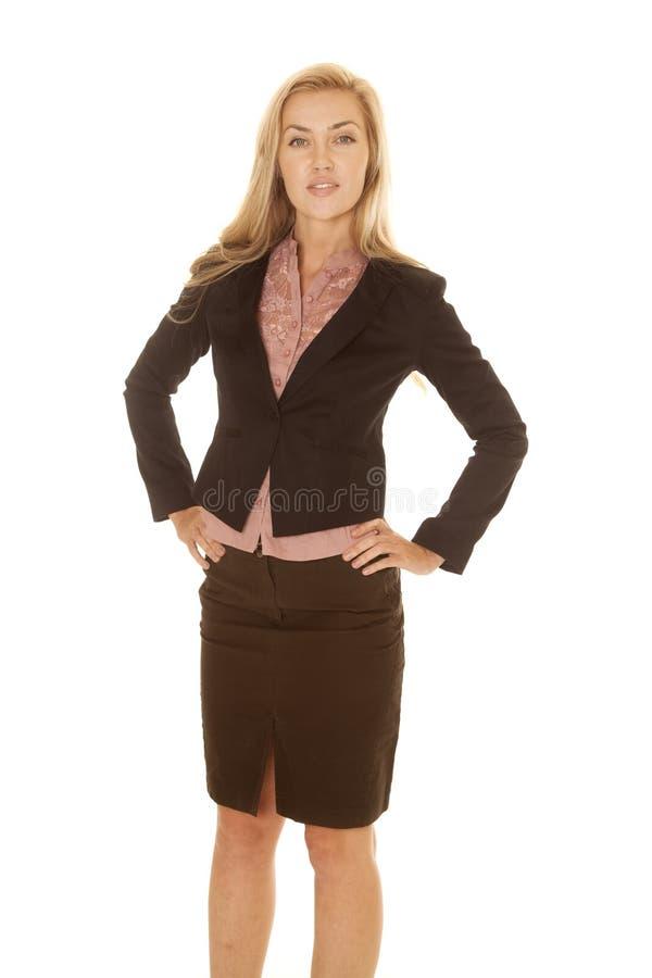 Sorriso preto louro do vestido do negócio da mulher fotos de stock