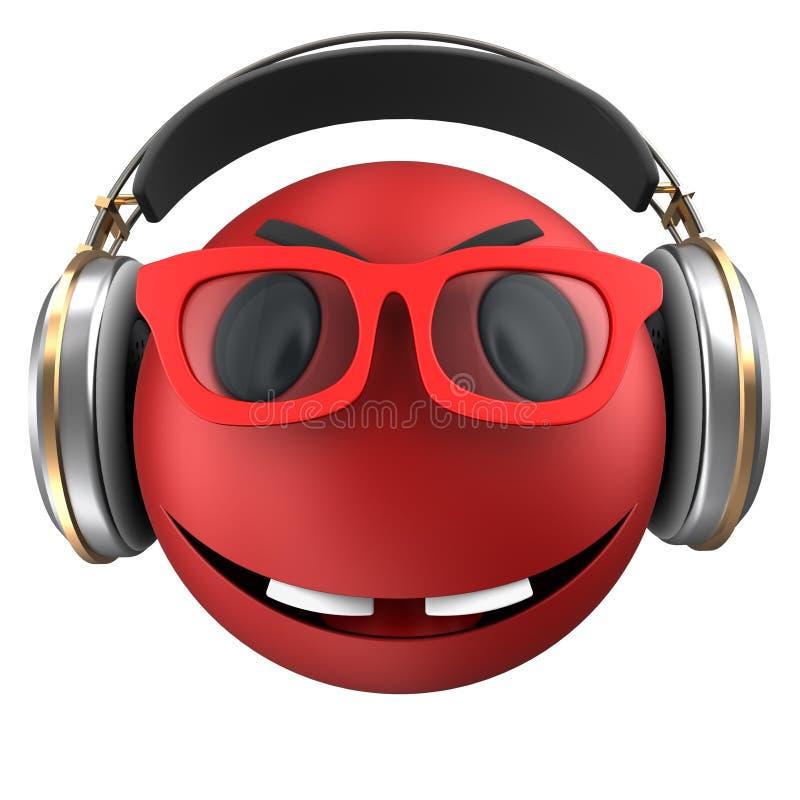 sorriso rosso dell'emoticon 3d illustrazione di stock