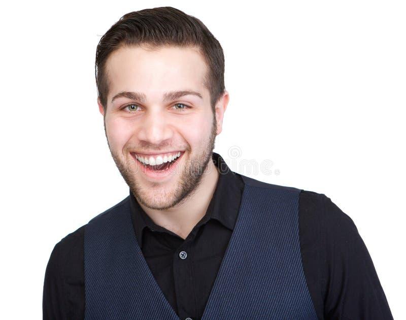 Sorriso seguro do homem novo foto de stock royalty free