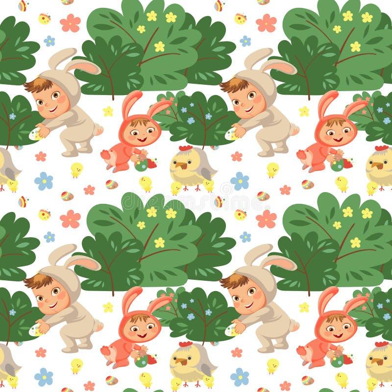 Sorriso sem emenda da menina do teste padrão que joga com as galinhas sob o arbusto das flores, bebê no avental com a faixa das o ilustração stock