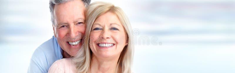 Sorriso superior dos pares fotografia de stock