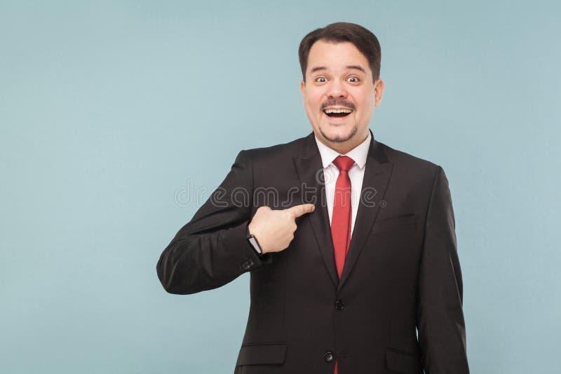 Sorriso toothy do homem de negócios da felicidade fotos de stock