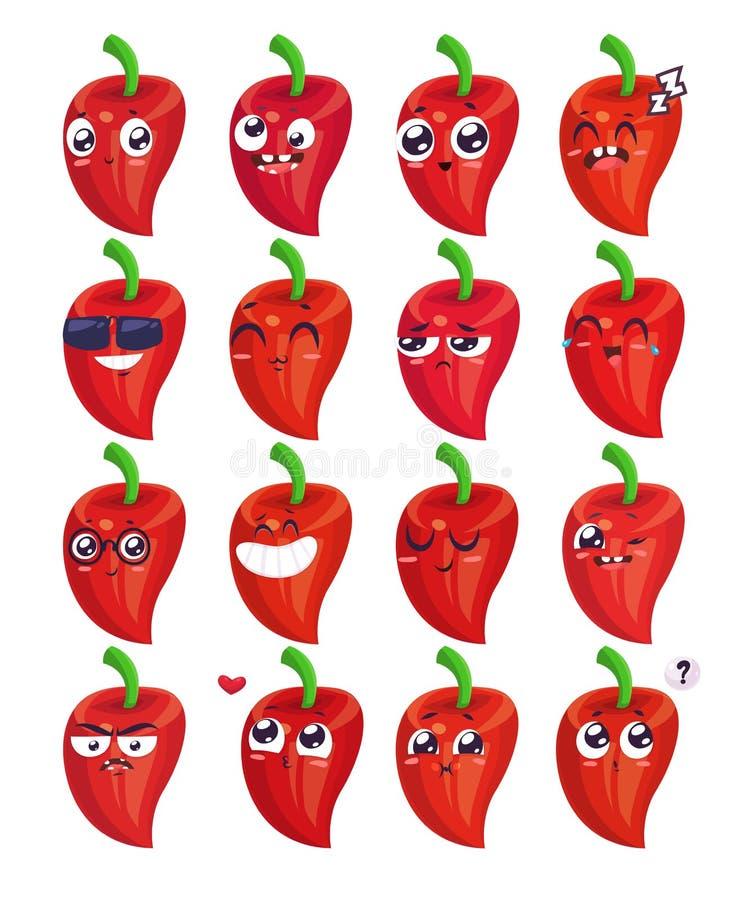 Sorrisos ajustados de caráteres dos vegetais Desenhos animados bonitos do vetor ilustração do vetor