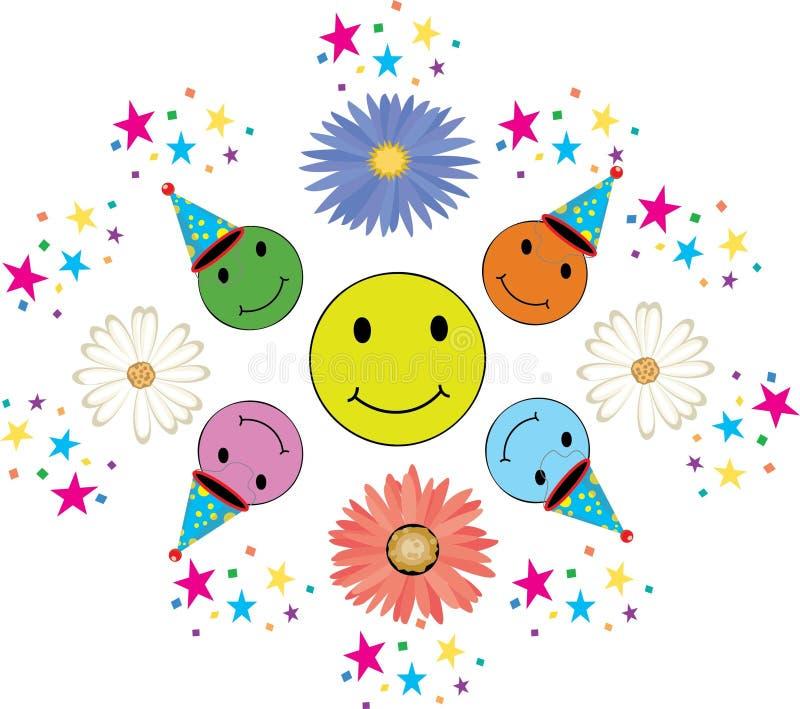 Sorrisos coloridos para o aniversário com confetes ilustração do vetor