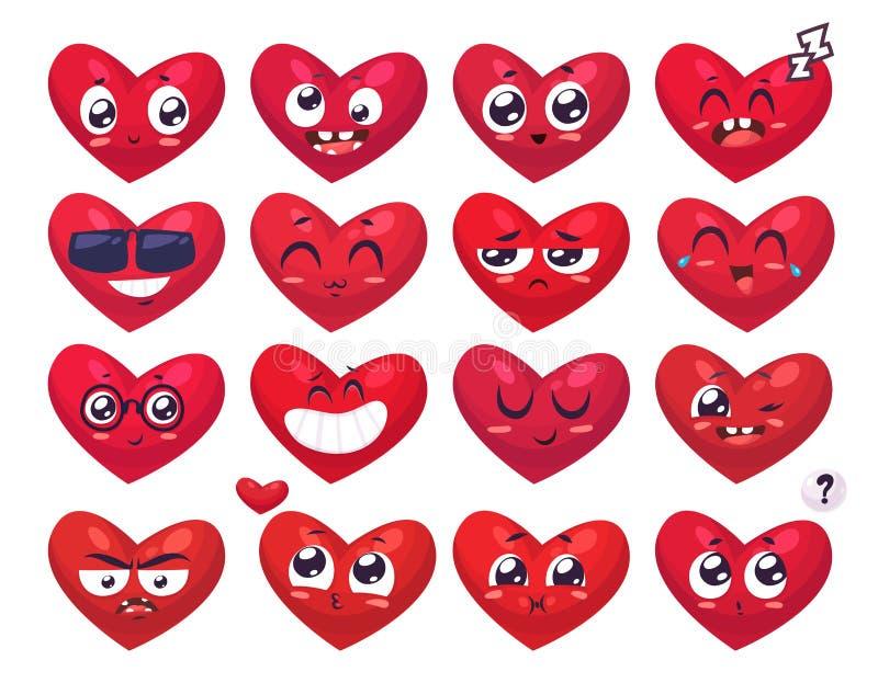 Sorrisos do coração ajustados dos caráteres Desenhos animados bonitos do vetor ilustração do vetor
