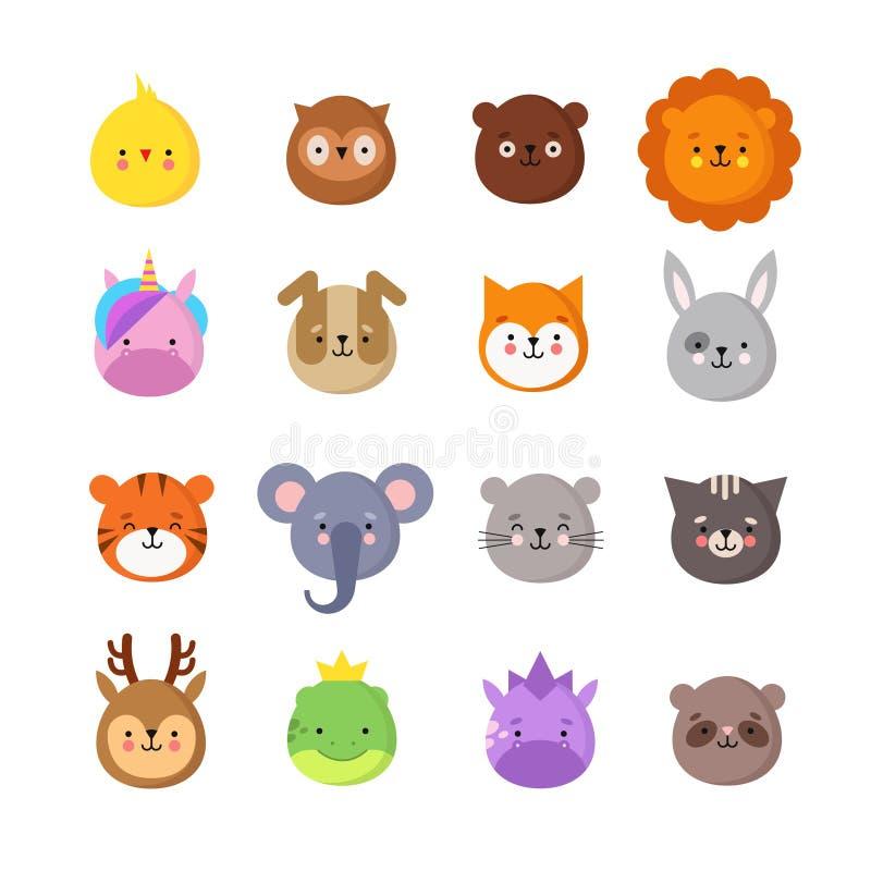 Sorrisos do manga dos animais Emoticons bonitos do animal do bebê do kawaii Dragão do unicórnio, tigre do elefante, leão e coruja ilustração do vetor