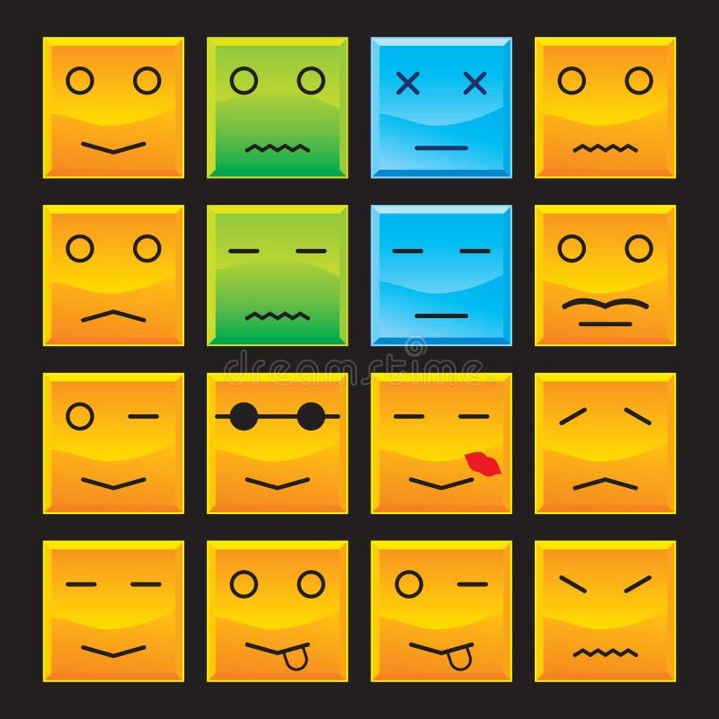 Sorrisos do quadrado ajustados ilustração royalty free