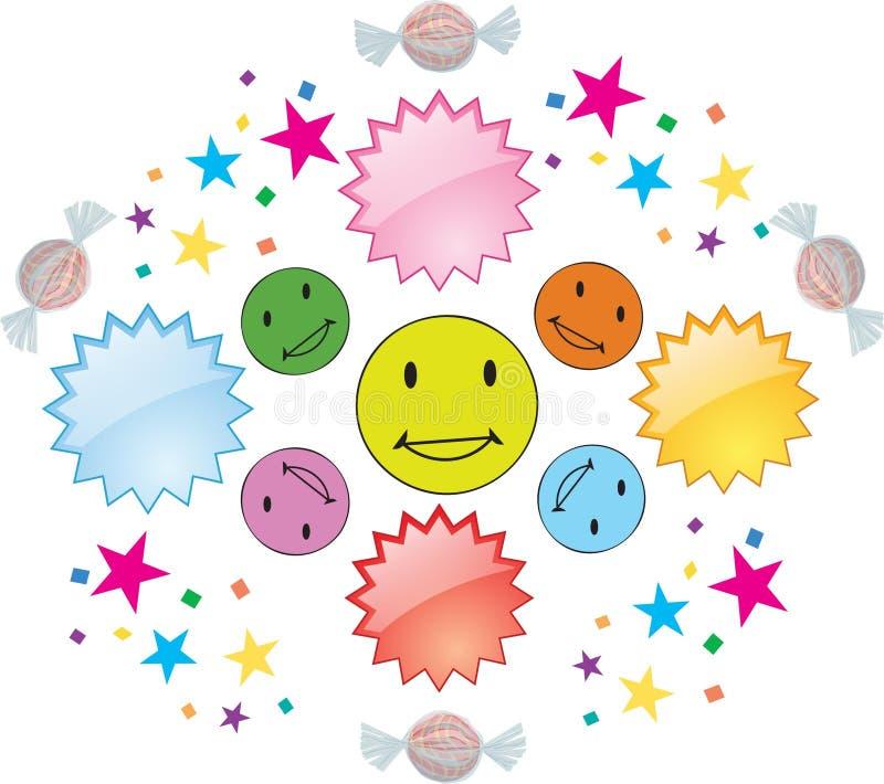 Sorrisos felizes coloridos com confettii e doces ilustração stock