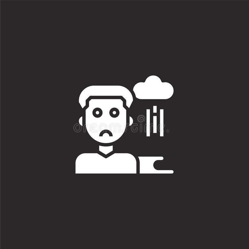 Sorrow icon. Filled sorrow icon for website design and mobile, app development. sorrow icon from filled funeral collection. Isolated on black background vector illustration