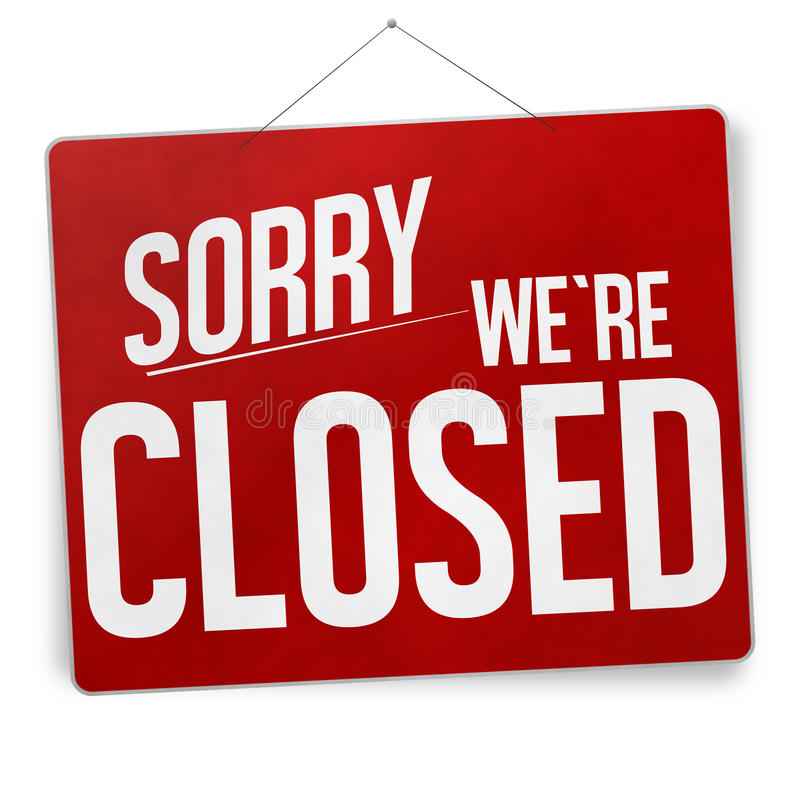 Sorry we are closed royalty free illustration