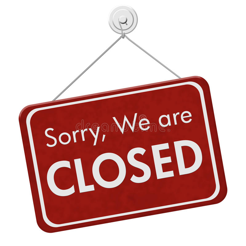 Sorry We are Closed Sign. A red hanging sign with text Sorry We are Closed isolated over white stock images
