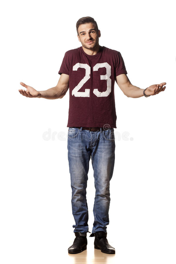 Sorry gesture. Young handsome guy with a sorry gesture royalty free stock photos