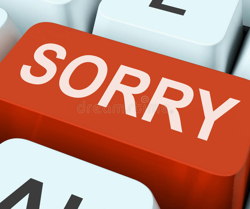 Sorry Key Shows Online Apology Or Regret. Sorry Key Showing Online Apology Or Regret royalty free stock photography